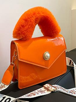Euro Style Fuzzy Handle Hasp Handbag For Ladies