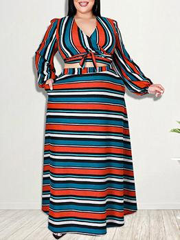 Contrast Color Striped Plus Size Two Pieces Skirt Set