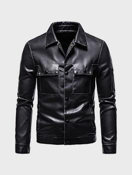 Cool Trendy Plain Black Pu Men Jacket