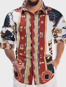 British Style Printed Turn-Down Long Sleeve Shirts