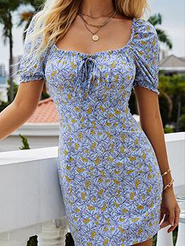 Vintage Puff Sleeve Floral Printed Short Dress