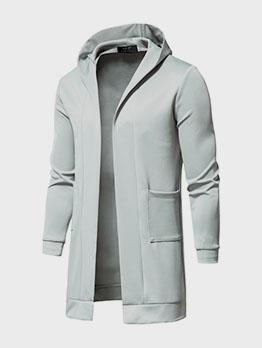 Masculine Solid Hooded Collar Long Sleeve Men Windbreaker