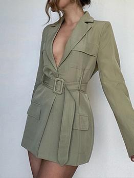 Trendy Green Solid Long Sleeve Blazer Coat
