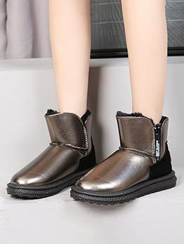 New Arrival Solid Zipper Up Plus Velvet Boots