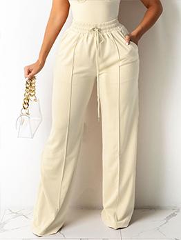 Solid Casual Stylish Drawstring Long Pants