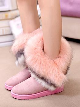Cute Soft Faux Rabbit Fur Ankle Boots