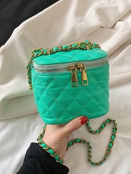 Casual Rhombus Lattice Zipper Chain Bucket Shoulder Bag