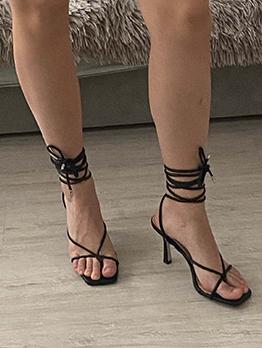 Simple Summer Lace Up Heel Sandals Women