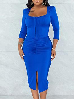 Trendy Solid Zipper Up Slit Ruched Midi Dress
