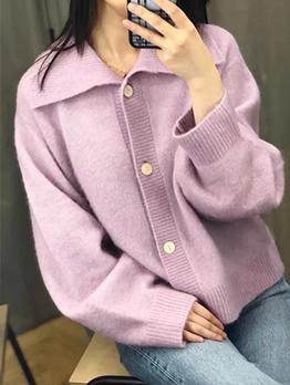 New Turndown Collar Long Sleeve Cardigan Sweater