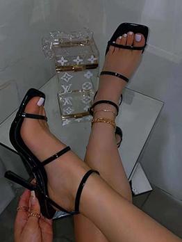Casual Solid Nightclub Heel Sandals For Ladies