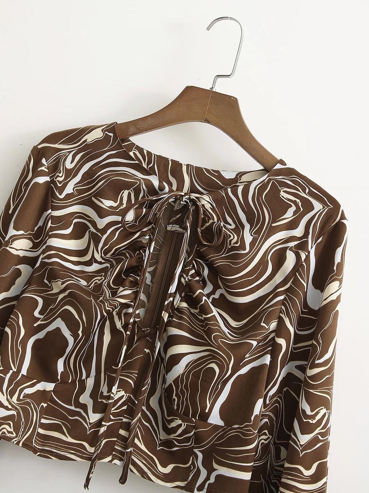 Casual Lace Up Print Women T Shirt