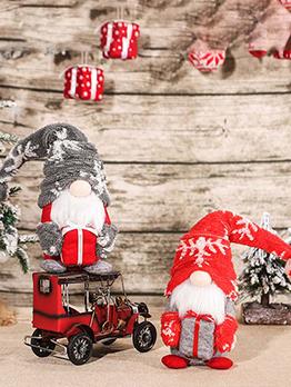 Christmas Cute Faceless Old Man Doll Window Dress Up