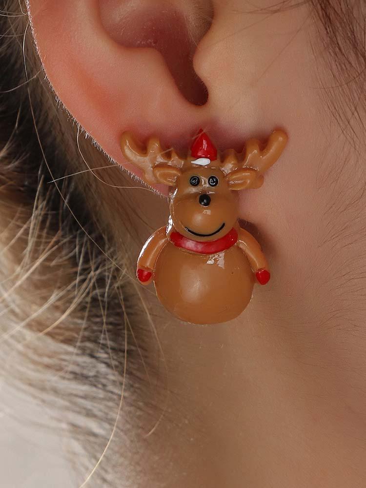 Cute Cartoon Resin Santa Elk Christmas Tree Earrings