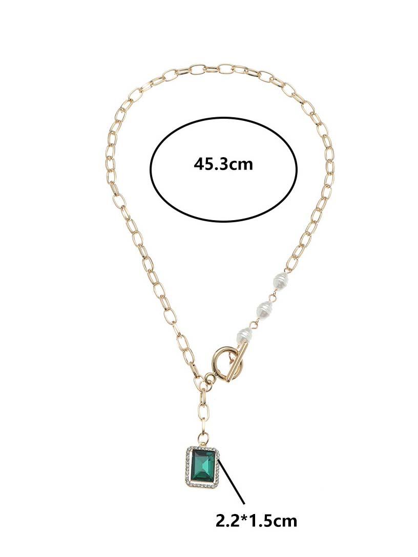Patchwork Versatile Faux-Pearl Square Necklaces