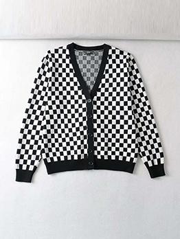 Fresh Checkerboard V Neck Loose Cardigan