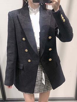 Work Black Button Up Long Sleeve Blazer Coat