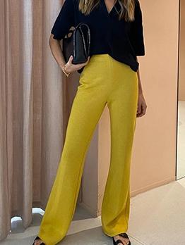 New Solid High Waist Bootcut Long Pants