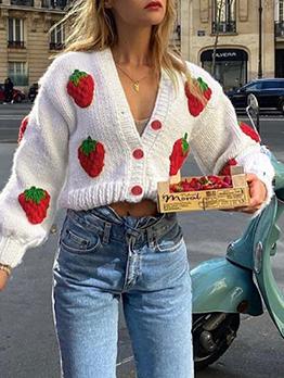 Casual V Neck Strawberry Sweater Coat