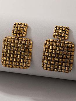 Creative Solid Square Lattice Chic Earrings