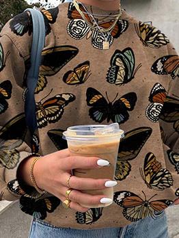 Butterfly Printing Casual Fashion Long Sleeve Sweatshirt