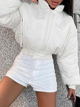 Chic Windproof Winter Zipper White Cropped Coat