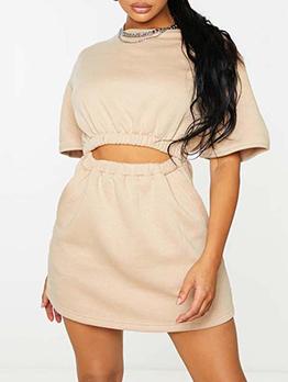 Summer Patchwork Pure Color Short Sleeve Dress