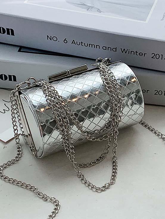 Gorgeous Solid Rhombus Cylinder Hardness Chain Shoulder Bag