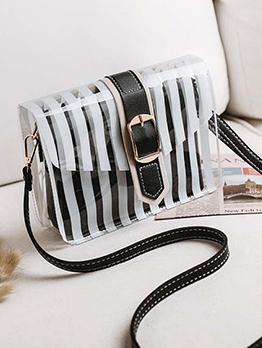 Japanese Street  Striped Hasp Shoulder Bag
