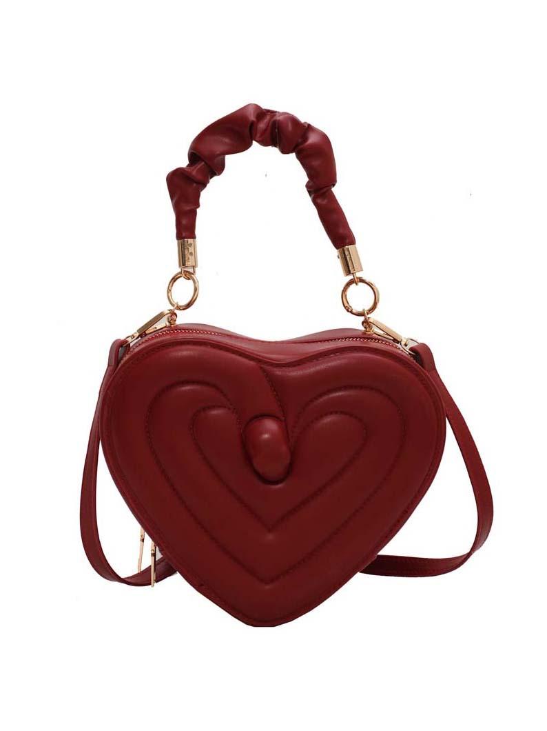 Chic Heart Shape Zipper Shoulder Handbag