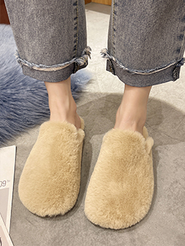 Korean Style Solid Comfy Winter House Slippers