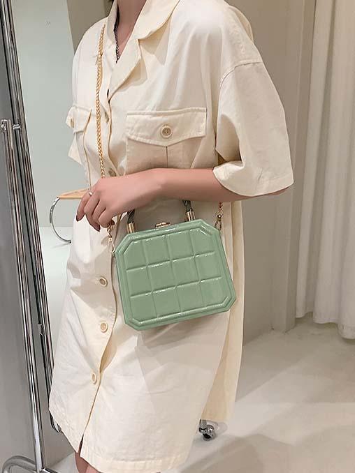 Grid Chain Dating Shoulder Bag For Women
