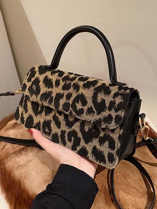 American Style Leopard Hasp Zipper Shoulder Bag