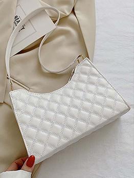 Rhombus Lattice Fashion Solid Zipper Shoulder Bag