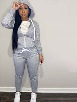 Sporty Zipper Hooded Collar Pocket 2 Piece Outfits