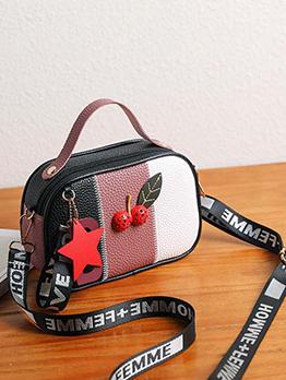 Contrast Color Cherry Pendant Zipper Shoulder Bag