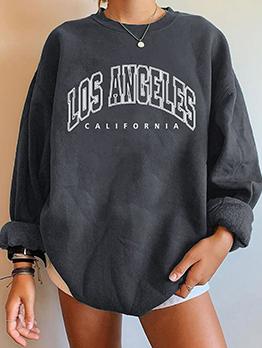 Casual Long Sleeve Letter Plush Oversized Sweatshirt