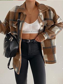 French Style Plaid Woolen Short Coat Women