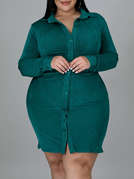 Solid Casual Turndown Collar Plus Size Dresses