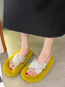 Faux Pearl Rhinestone Women Fluffy Slippers