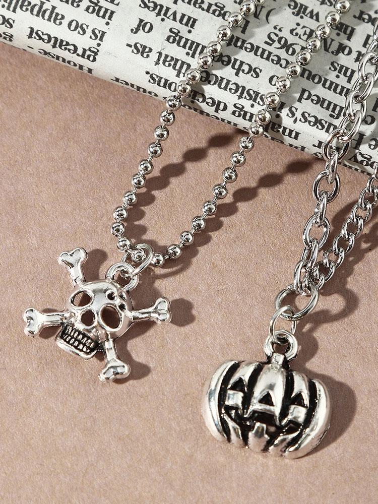 Punk Skull Pumpkin Double Layer Necklaces