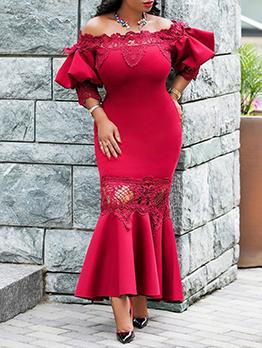 Off Shoulder Solid Bodycon Party Maxi Dresses