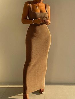 Elegant Solid Black Slit Fitted Camisole Maxi Dress