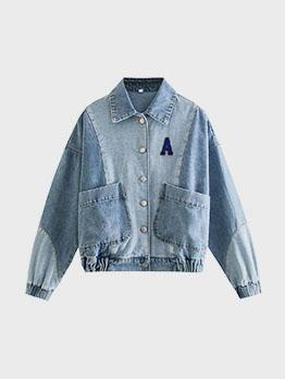 Stylish Button Up Letter Denim Jacket