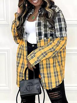 Plaid Contrast Color Long Sleeve Blouse Women