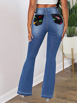 High Waist Patchwork Pockets Denim Bootcut Jeans