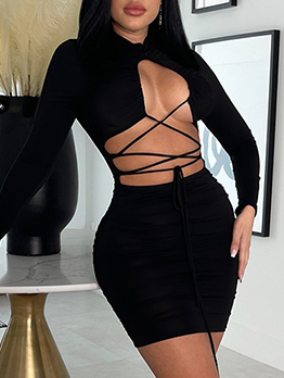 Pure Lace Up Ruched Long Sleeve Sheath Dress