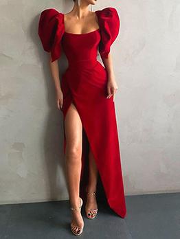 Pretty Red Puff Sleeve Slit Maxi Dress