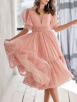 Sexy Sweet V Neck Short Sleeve Backless Dress