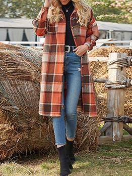Plaid Turndown Collar Fall Winter Long Coat
